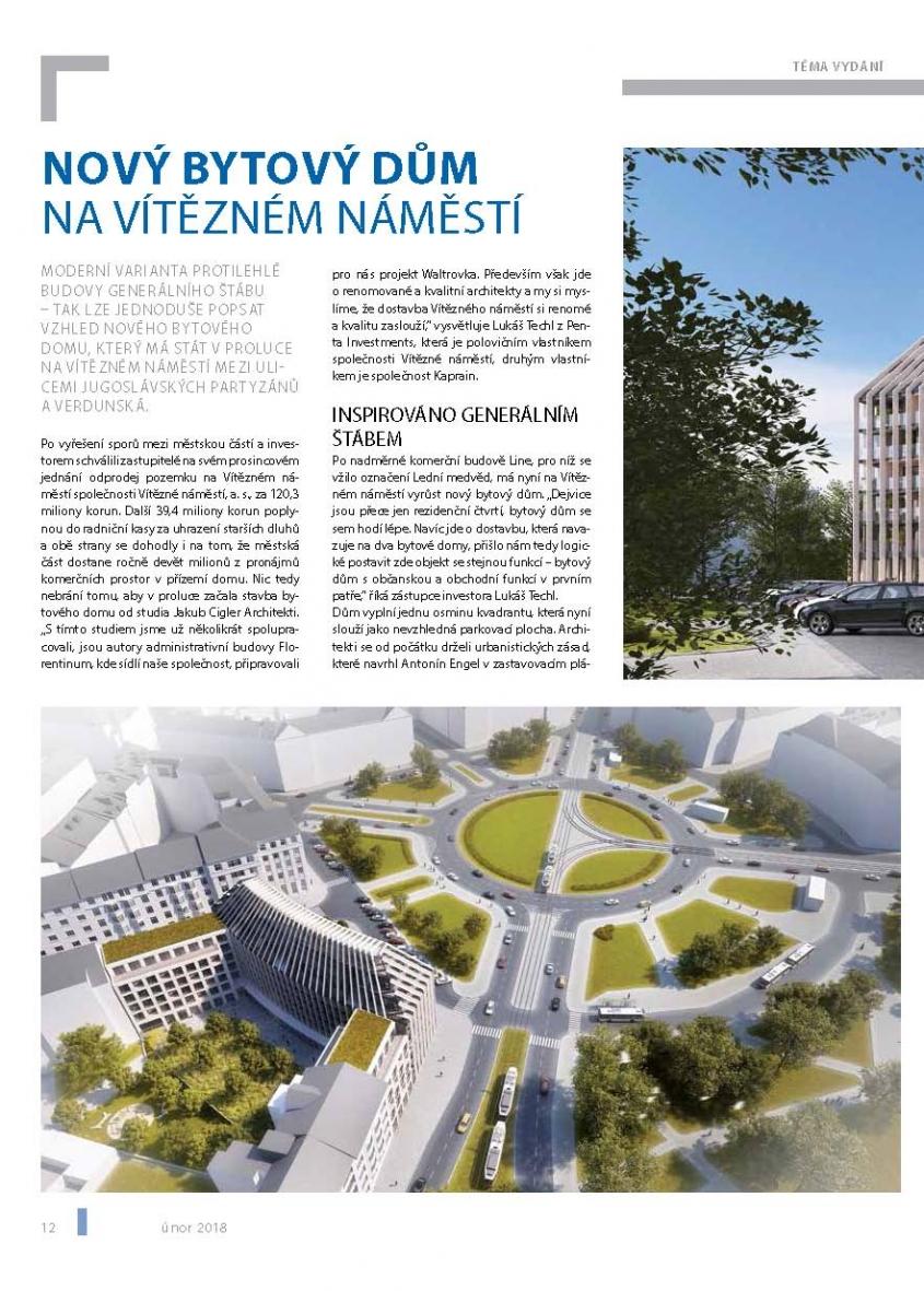 Nový bytový dům na Vítězném náměstí (Zdroj: Noviny Šestka, 2/2018)